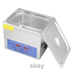 10L Digital Cleaning Machine Ultrasonic Heated Cleaner Bath Tank Timer Industry