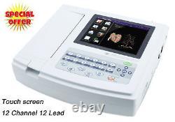 12 channel EKG/ECG Machine Touch Screen Cardiac Monitor PC Sync software 12 lead