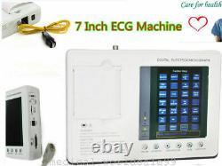 7 inch 3-channel 12-Lead Electrocardiograph ECG/EKG Machine Interpretation LCD