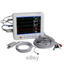 8 Patient Monitor Machine ECG NIBP RESP TEMP SPO2 PR Vital Sign + Cuff +Cable