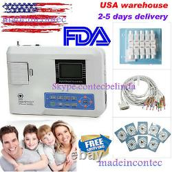 CONTEC US Portable Single Channel 12 Leads ECG/EKG Machine+Printer+Software FDA