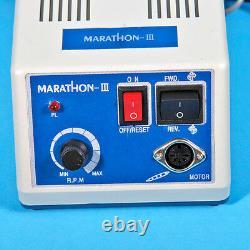 Dental Marathon 35K RPM Micromotor Machine& Handpieces &10 Burs Drill HP DR