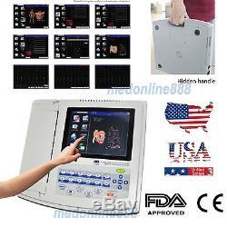 FDA Digital 12-lead 12-channel Electrocardiograph ECG/EKG Machine interpretation