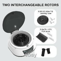 Lab Microcentrifuge Machine Benchtop Centrifuge 2 Rotors for 0.2/0.5/1.5/2ml