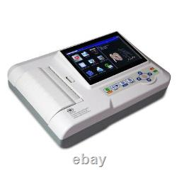Touch 6 Channel ECG Machine 12 Lead Electrocardiograph EKG Cardiac Monitor + CD