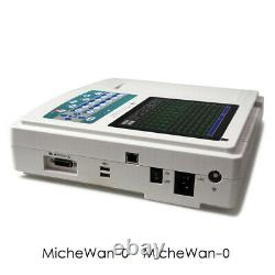 Touch Screen 12 channel lead ECG/EKG Machine USB PC Software w Printer, FDA CE