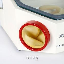 Twin Pen Sandblaster Double Pen Sand Blaster Machine for Dental Lab with LED Lamp