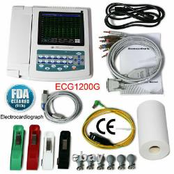 Électrocardiographe Numérique 12 Canal 12 Lead Ecg Ekg Machine Software Ce Fda