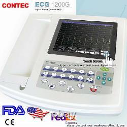 Portable Ecg/ekg Machine Numérique 12 Canaux 12 Électrocardiographe De Plomb, Touch, États-unis