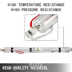 Vevor 100w Co2 Laser Tube 80mm Refroidissement À L'eau Du Tube De Verre Pour Machine À Graver